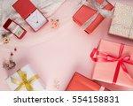 beautiful gift box and diamond... | Shutterstock . vector #554158831