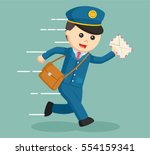postman running delivering... | Shutterstock .eps vector #554159341