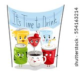 cute drink cartoon character... | Shutterstock .eps vector #554163214