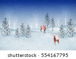 forest in the frost. winter... | Shutterstock . vector #554167795
