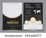 design 2 pages of a4 black with ... | Shutterstock .eps vector #554168377