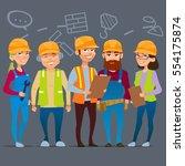 cartoon characters. team home...   Shutterstock .eps vector #554175874
