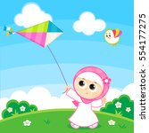 muslim girl playing with a kite ... | Shutterstock .eps vector #554177275