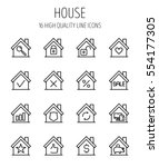 set of house in modern thin... | Shutterstock .eps vector #554177305
