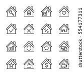 set of house in modern thin... | Shutterstock .eps vector #554177311