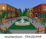 Town Street With Walkway And...