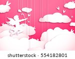cute valentines day greeting... | Shutterstock . vector #554182801