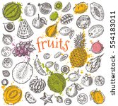 tropical fruits set. hand drawn ... | Shutterstock .eps vector #554183011