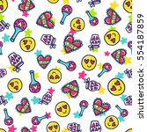 doodles cute seamless pattern.... | Shutterstock .eps vector #554187859