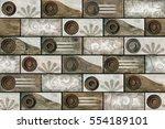 colorful vintage ceramic tiles...   Shutterstock . vector #554189101