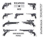 firearm set. guns  pistols ... | Shutterstock .eps vector #554190757