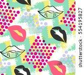 seamless pattern pop art design.... | Shutterstock . vector #554195827