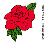 flower rose  red buds and green ... | Shutterstock .eps vector #554195881