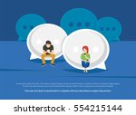 chat talk addiction concept... | Shutterstock .eps vector #554215144