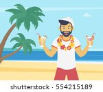 happy young man enjoying and... | Shutterstock .eps vector #554215189