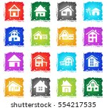house type web icons in grunge... | Shutterstock .eps vector #554217535