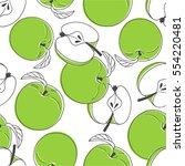 fresh apples background  hand... | Shutterstock .eps vector #554220481