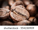 coffee beans concept on wooden... | Shutterstock . vector #554230909