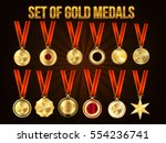 set of gold medals  vector... | Shutterstock .eps vector #554236741