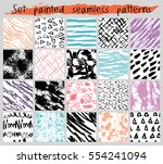 vector hand painted seamless... | Shutterstock .eps vector #554241094