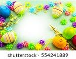 easter colorful eggs  frame on...   Shutterstock . vector #554241889
