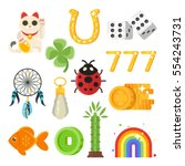 vector flat style set of luck... | Shutterstock .eps vector #554243731