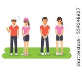 man and woman golf sport... | Shutterstock .eps vector #554248627