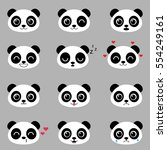 set of cute cartoon pandas with ... | Shutterstock .eps vector #554249161