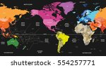 world political map colored by... | Shutterstock .eps vector #554257771
