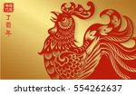 red rooster on gold background... | Shutterstock .eps vector #554262637