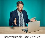 the sad and puzzled young man... | Shutterstock . vector #554272195