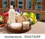 milk on the windowsill. milk in ...   Shutterstock . vector #554273299