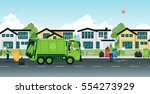 garbage truck that employs... | Shutterstock .eps vector #554273929