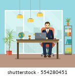 office workplace with table ... | Shutterstock .eps vector #554280451