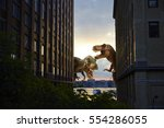 Small photo of dinosaur scene of the two dinosaurs fighting