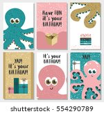 set of 6 cute creative cards... | Shutterstock .eps vector #554290789