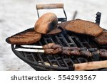 meat and bread on fire | Shutterstock . vector #554293567