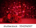 roses bouquet and hearts... | Shutterstock . vector #554296507