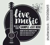 banner with an acoustic guitar... | Shutterstock .eps vector #554308645