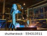 robot is welding assembly...   Shutterstock . vector #554313511