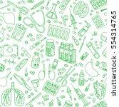medicine doodle. hand drawn... | Shutterstock .eps vector #554314765