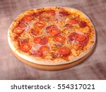 pizza onion  tomatoes  salmon | Shutterstock . vector #554317021