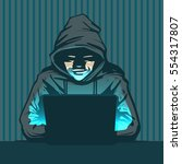 hacker with laptop  hacking the ... | Shutterstock .eps vector #554317807