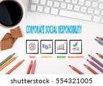 corporate social responsibility ... | Shutterstock . vector #554321005