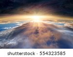 planet earth with a spectacular ... | Shutterstock . vector #554323585