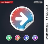 colored icon or button of right ...