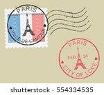 Postal Stamp Symbols 'paris  ...