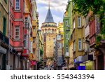 Galata Tower and the street in the Old Town of Istanbul, Turkey