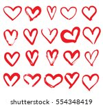 Set Of Hand Drawn Hearts. Red...