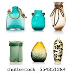 Set Of Ceramic Vases Isolated...